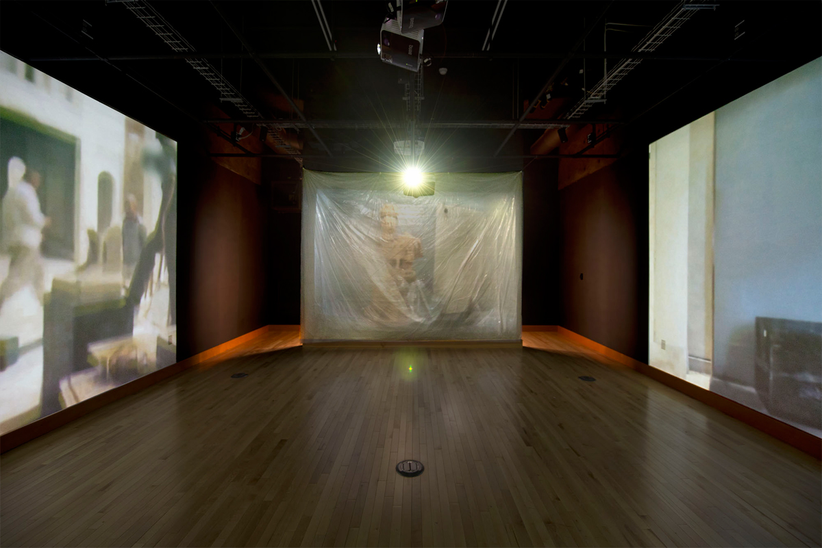 STILL: Non-Manifold. 4-Channel video installation. 9 layers clear tarp. Size variable. 2016. Photo by Evan La Londe. Video below.