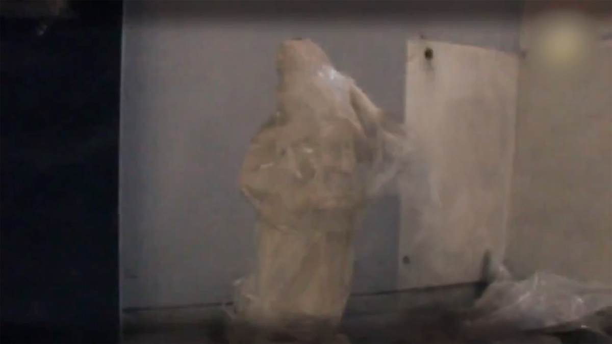 VIDEO STILL: 2000 year old sculpture alerts world to its demise. 2015. 2 second video on continuous loop. Size variable. Video preview below.