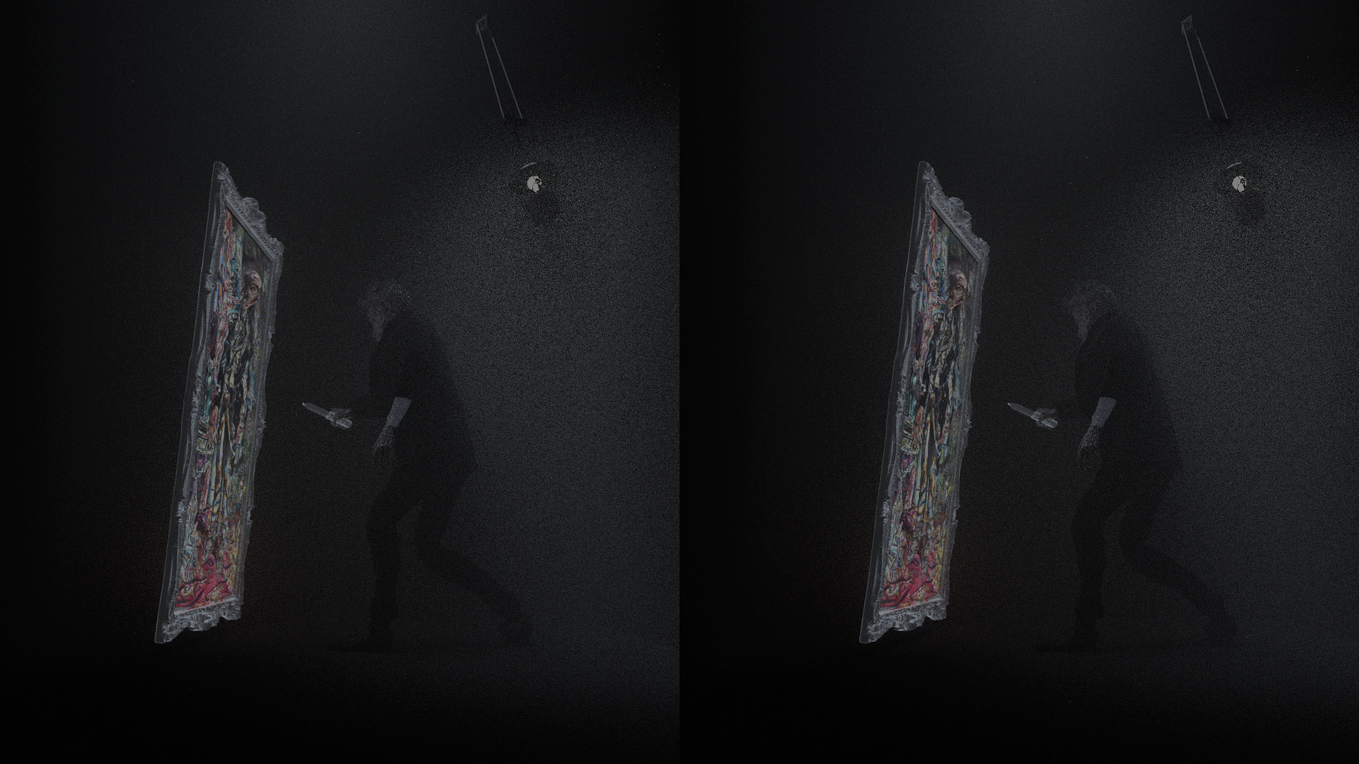 "a still from a fixed vantage point virtual reality piece made in a 3D software called Blender and embedded in a wall and engulfed by thick black curtains. It uses a simple stereographic technology available as an attachment to a phone (I used the original Google Cardboard attachment). The installation serves as a peephole into a small virtual room lit only by a swaying gas lamp where Oscar Wilde's infamous fictional character Dorian Gray, known for trading his mortality with a portrait of himself, slowly and pathetically stabs at the painting, which, unmarred by the attempts, envelops the knife and ripples in response. The stereoscopic video is on loop. The audio heard faintly from within the room is a song called ""Goodbye Little Yellow Bird"" sung by the Angela Lansbury in the 1945 American film adaptation of the novel. The original portrait I sampled for this piece was also commissioned for the 1945 film and painted by Ivan Albright."